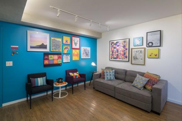 apartament interior obzavejdane hol divan mebeli stena sinio kartini