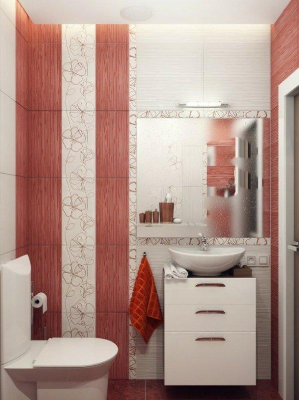banq dizain obzavejdane cherveno bqlo plochki mivka ogledalo