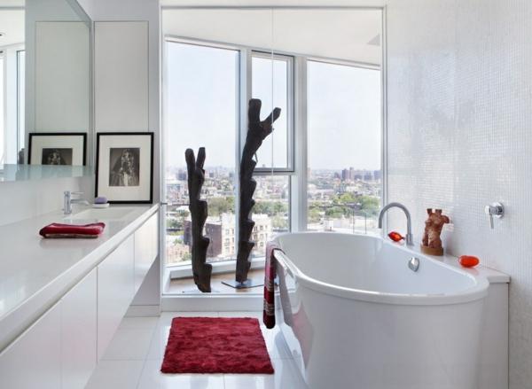 banq interioren dizain dom obzavejdane vana bqlo cherveno akcenti