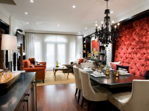 dekor stena trapezariq interior cherveno tekstil stolove bejovo