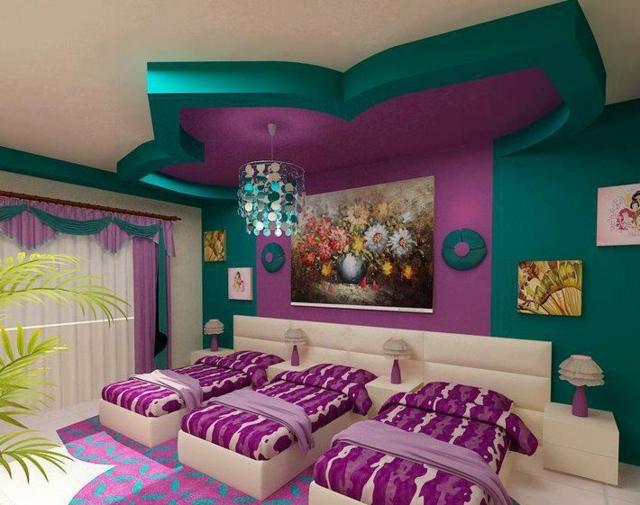 интериорен дизайн в детска стая лилаво зелено таван