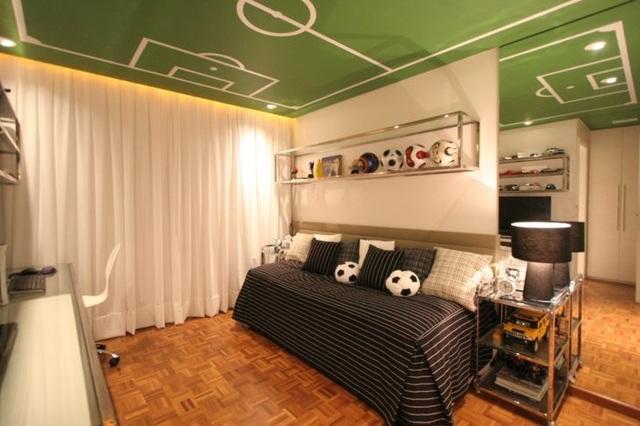интериорен дизайн в детска стая момчета интериор футбол таван