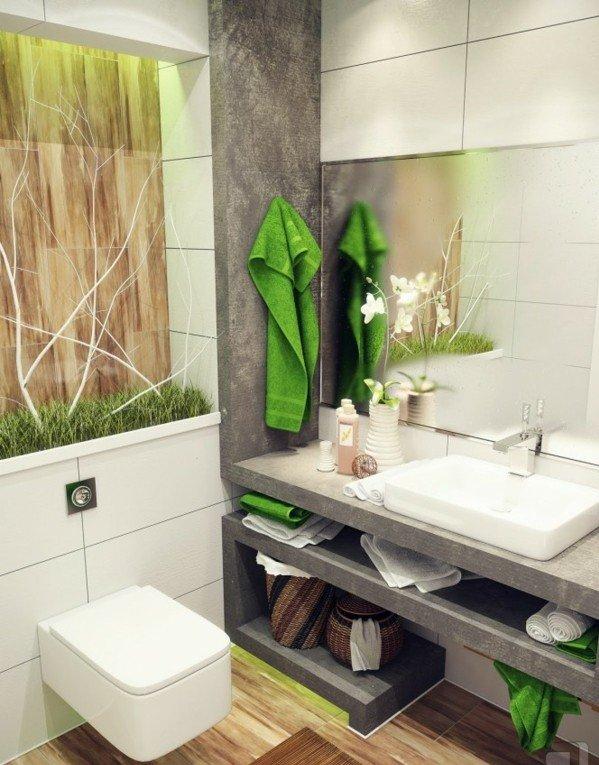 dizain banq interior darvo obzavejdane sivo zeleno kafqvo