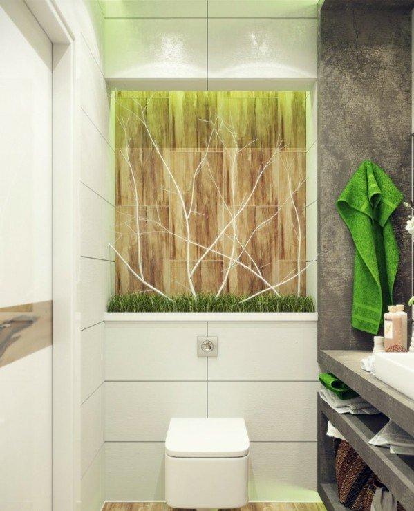 dizain banq interior plochki obzavejdane bqlo zeleno sivo