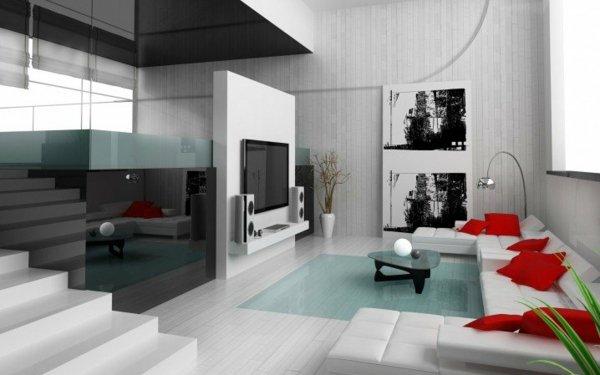 dizain interio minimalistichen sstil hol obzavejdane sivo bqlo