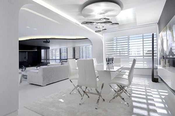 интериорен дизайн на трапезария бяло