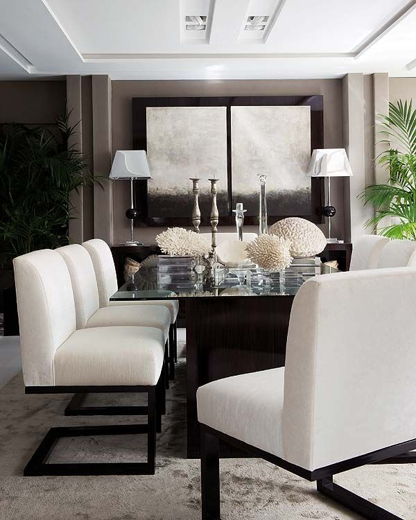 интериорен дизайн трапезария бяло кафяво