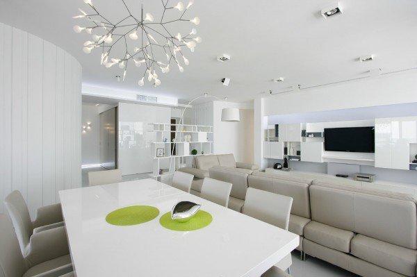интериорен дизайн трапезария бяло обзавеждане