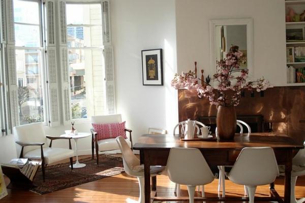 eklektik stil trapezariq interior masa stolove obzavejdane