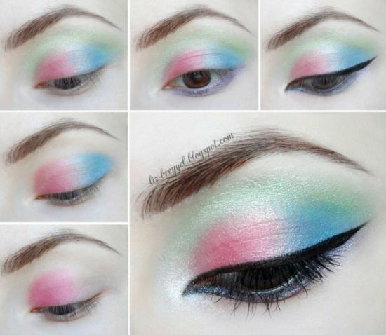 грим за очи пастелни тонове розово зелено синьо
