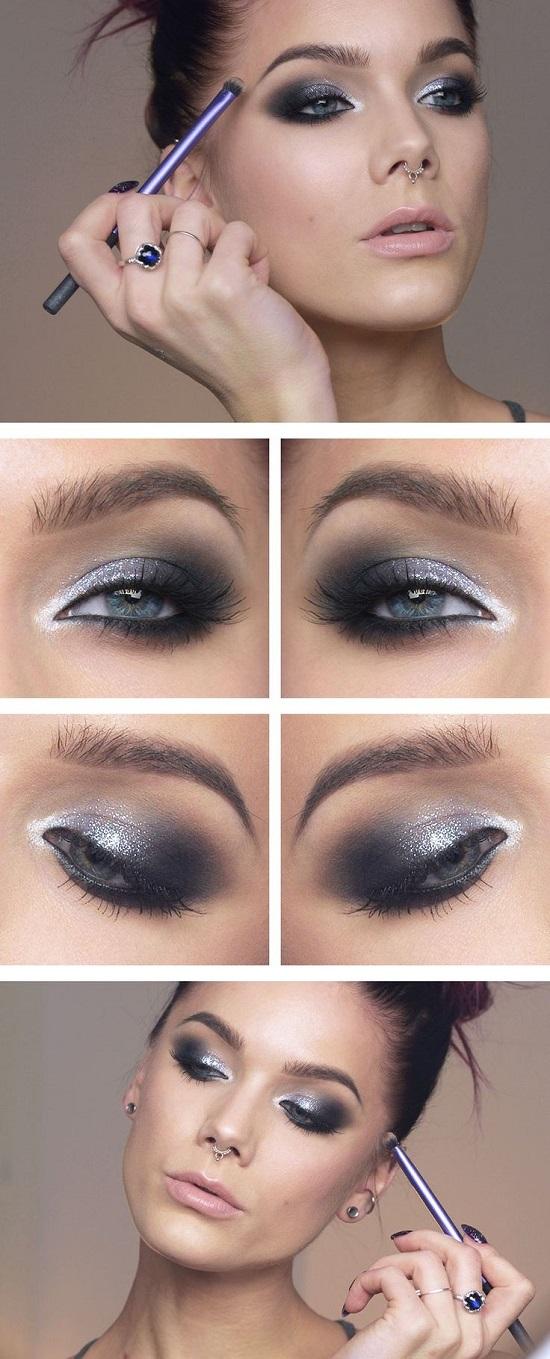 грим сини очи опушен сиво