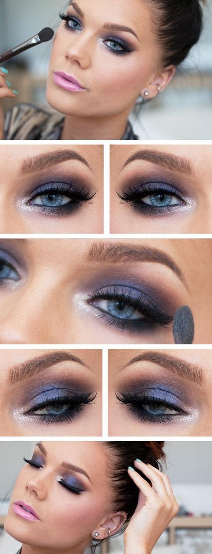 грим за сини очи в лилаво