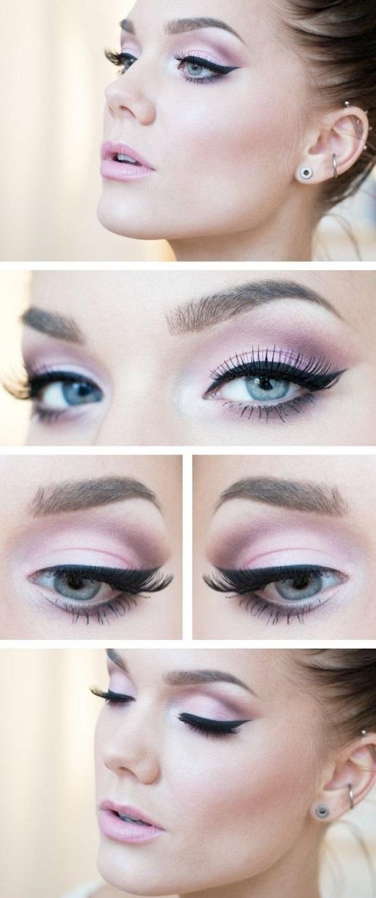 грим за сини очи в розово