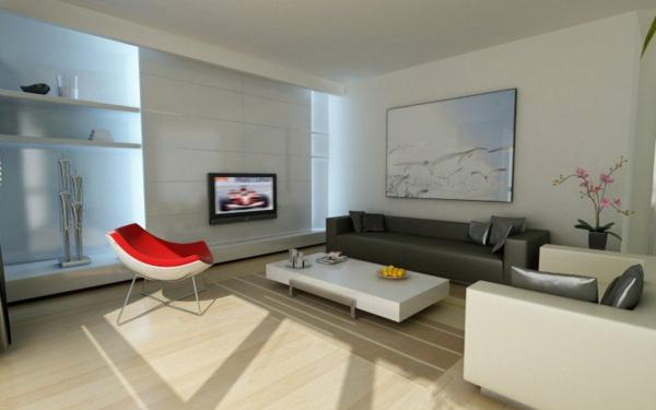 hol interior dizain minimalistichen stil sivo cherveno bqlo