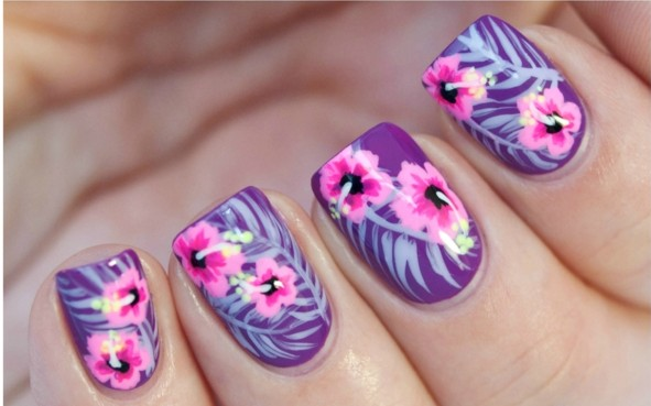 prolet manikiur cvetq dizain nokti rozovo lilavo