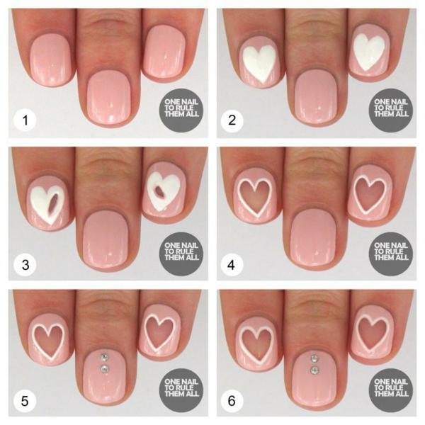 idei manikiur bqlo rozovo sarca nokti
