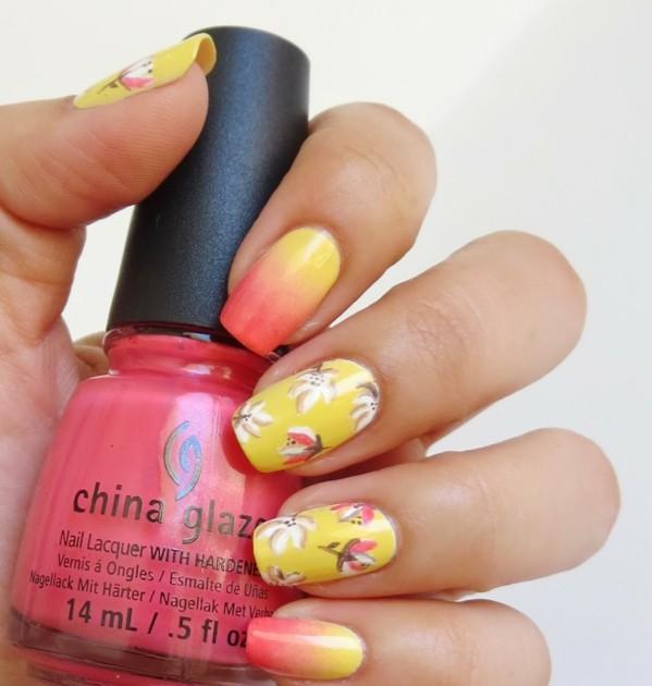 idei manikiur prolet dizain cvetq nokti jalto oranjevo rozovo