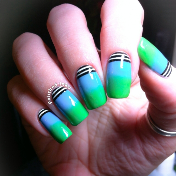 idei manikiur dizain liniii cherno zeleno sinio