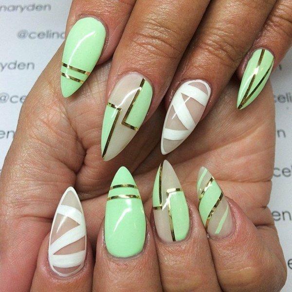 idei manikiur zeleno prolet nokti bqlo