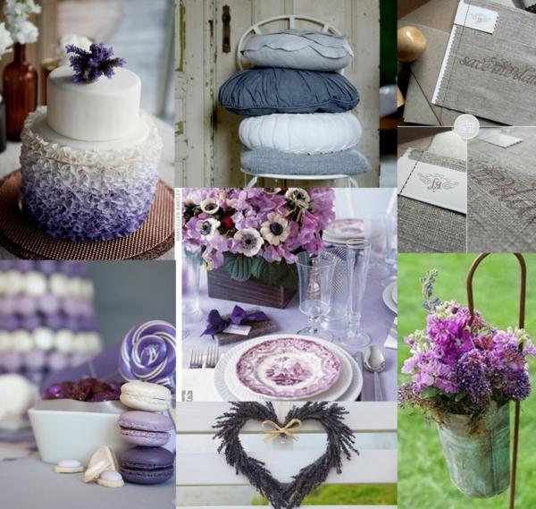 idei svatba dekoraciq cvetq lilavo torta