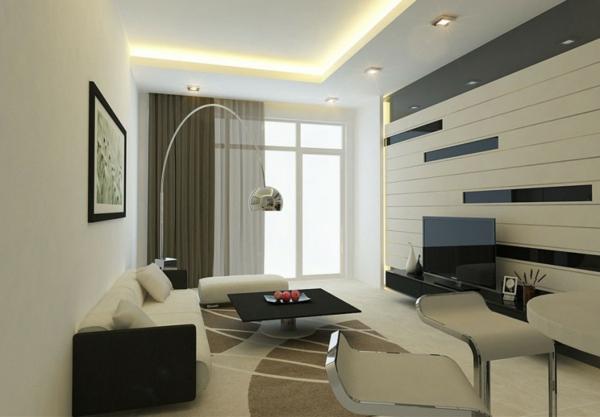 interior dizain minimalistichen stil hol obzavejdane bqlo cherno