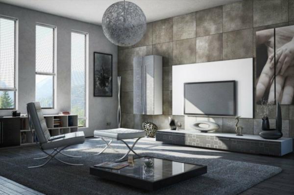 interior dizain minimalistichen stil obzavejdane sivo