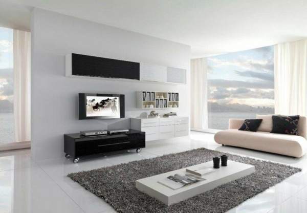 interior dizain minimalistichen stil sivo bqlo kilim