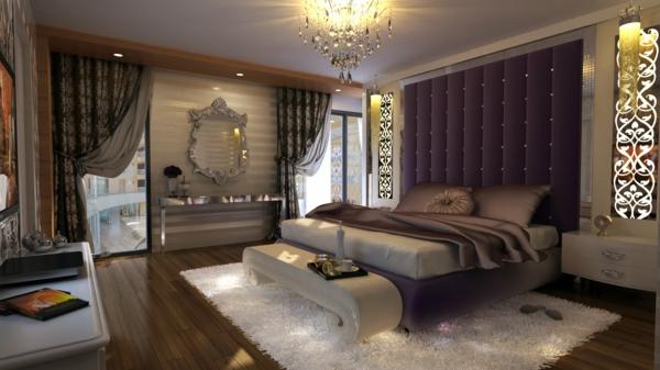 interior spalnq bejovo lilavo luksozen stil