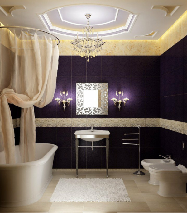 interioren dizain banq luks obzavejdnе lilavo plochki vana