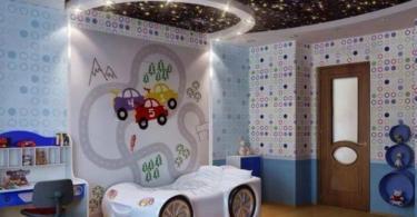 interioren dizain detska staq momcheta leglo kola tavan