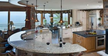 Модерен дизайн на кухня с объл остров