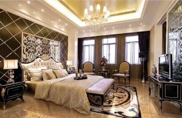 luksozen stil spalnq iziskana interior obzavejdane bejovo polilei