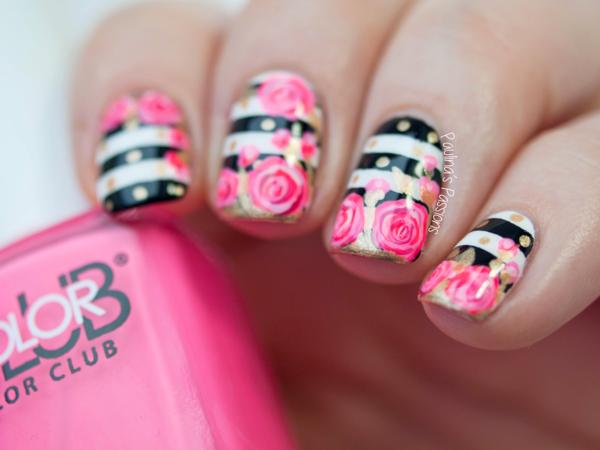 idei prolet manikiur dizain nokti cvetq rozi rozovo raie cherno bqlo