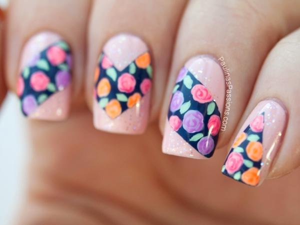 manikiur nokti prolet idei dizain cvetq rozi lilavo rozovo