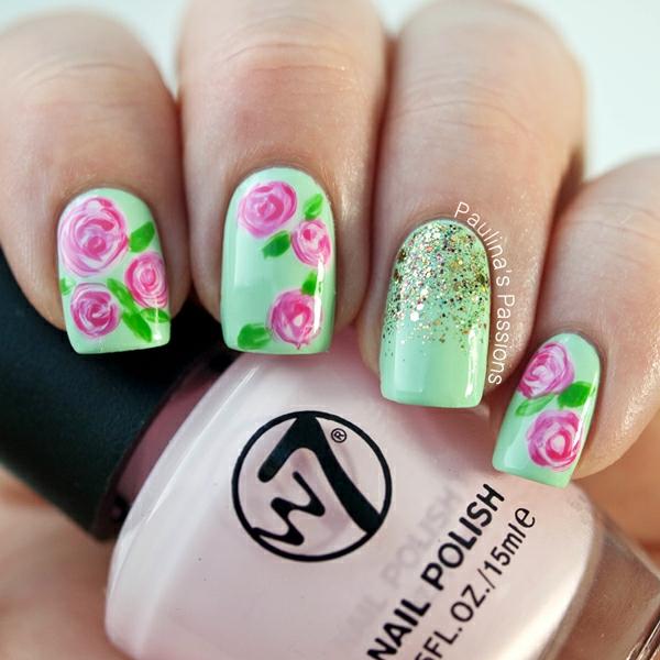 manikiur prolet idei zeleno cvetq nokti dizain rozovo rozi