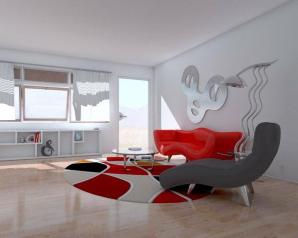minimalistichen stil interior hol dizain cherveno sivo