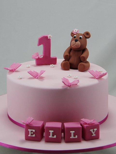 торта за първи рожден ден на момиченце розова