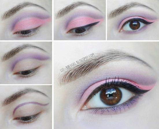 грим за очи в пастелни тонове спирала лилаво розово