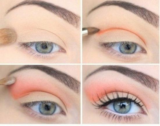 грим за очи в пастелни тонове спирала оранжево бежово
