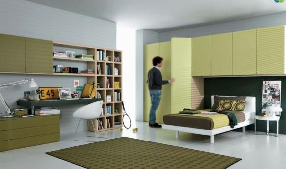 interior staq spalnq tineidjari savremenen stil zeleno leglo sekciq