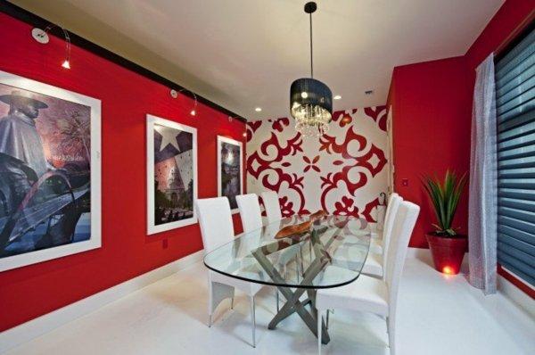 stena trapezariq dekor obzavejdane cherveno interior figuri masa staklo