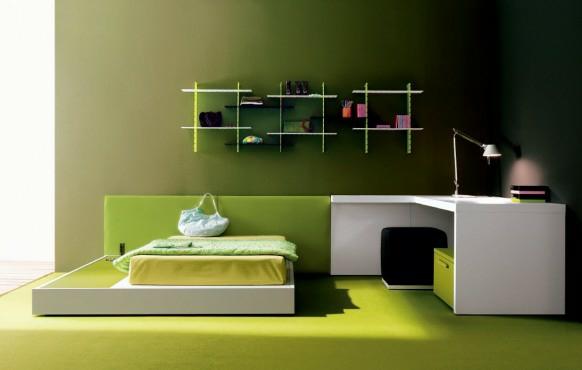 obzavejdane staq interior tineidjar spalnq minimalistichen stil zeleno