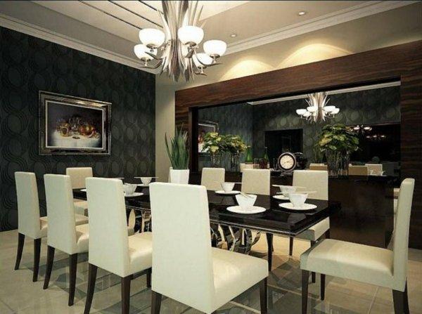 trapezariq dekor stena interior obzavejdane cherno tapet kartina masa stolove