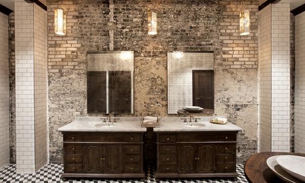 дизайн на баня с тухлена стена