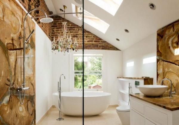 дизайн баня с тухлена стена