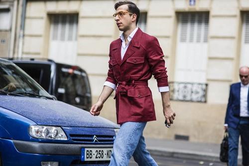 Червен мъжки шлифер