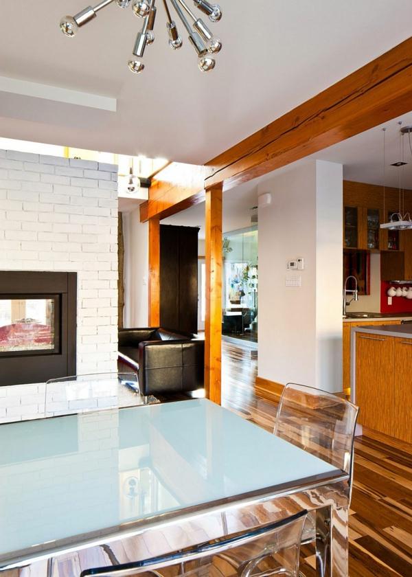 интериорен дизайн на камината в кухнята