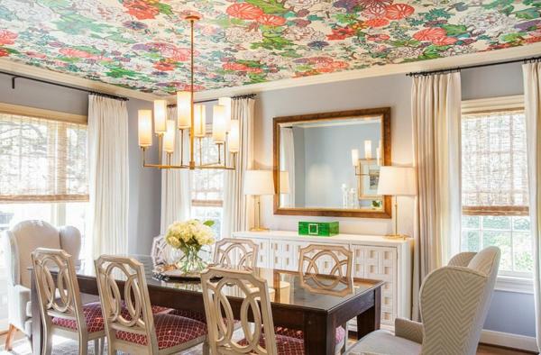 dizain tavan tapeti trapezariq interior ogledalo