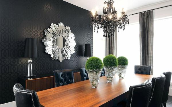 dizain trapezariq tapeti cherno moderen stil interior