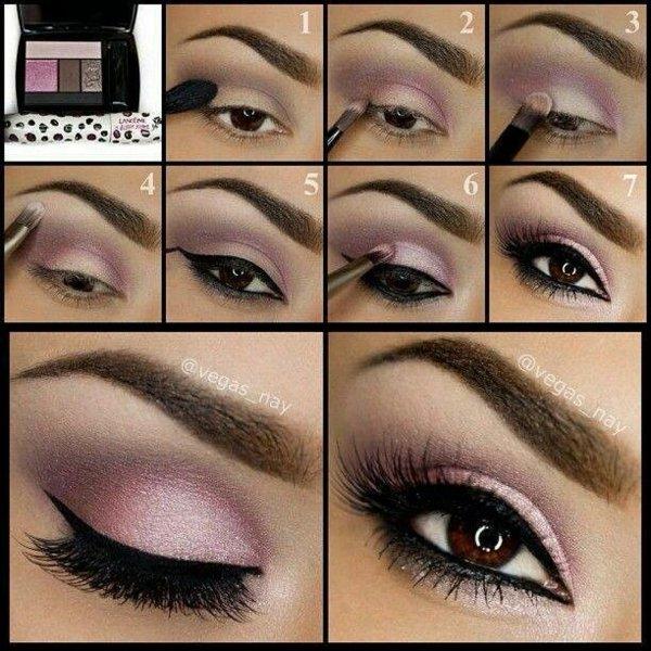 грим за кафяви очи очна линия розово кафяво